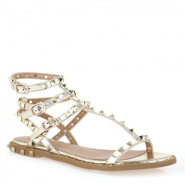 Exe Sandalen mit Nieten Gold