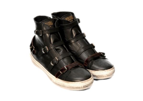 Sneakers Piranha Nero Rosso High
