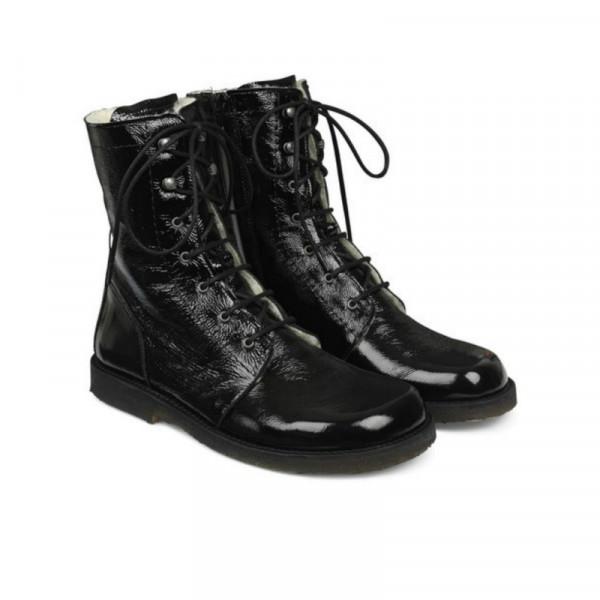 Angulus - Lace up Boots Black Verniz