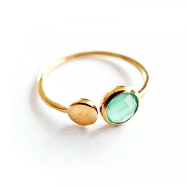 Atelier Coquet Ring Double point Onyx Vergoldet