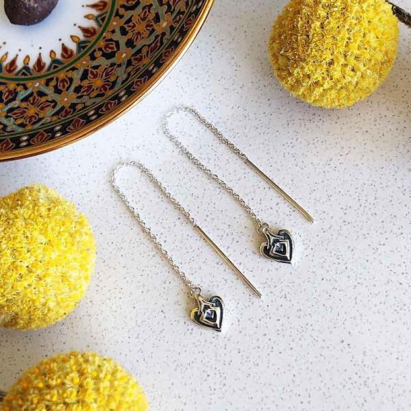 Heart Threader Earring Silber