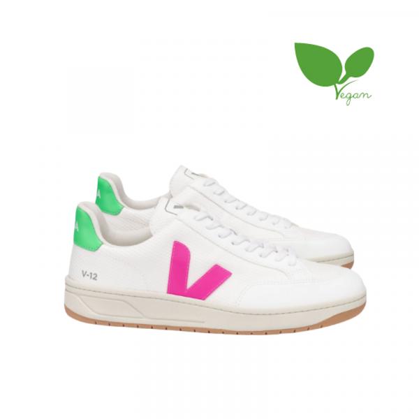 Veja - V-12 B-Mesh, White Sari Pink Green