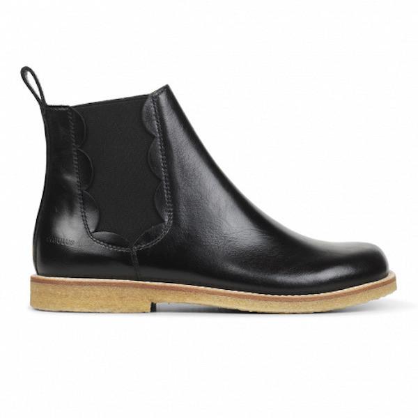 Chelsea Boots Angulus weite Passform Schwarz