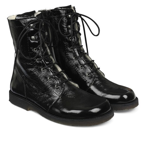 Angulus - Lace up Boots Black Verniz