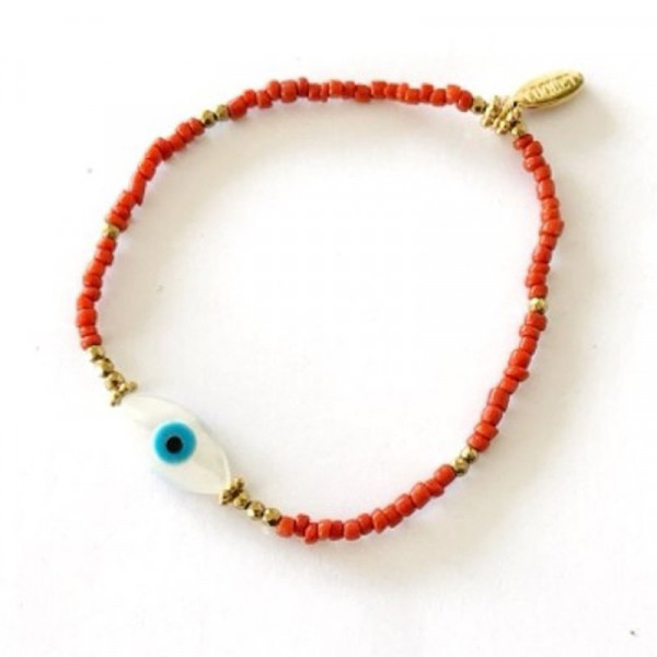 Atelier Coquet - Armband Yeux Coralle Silber