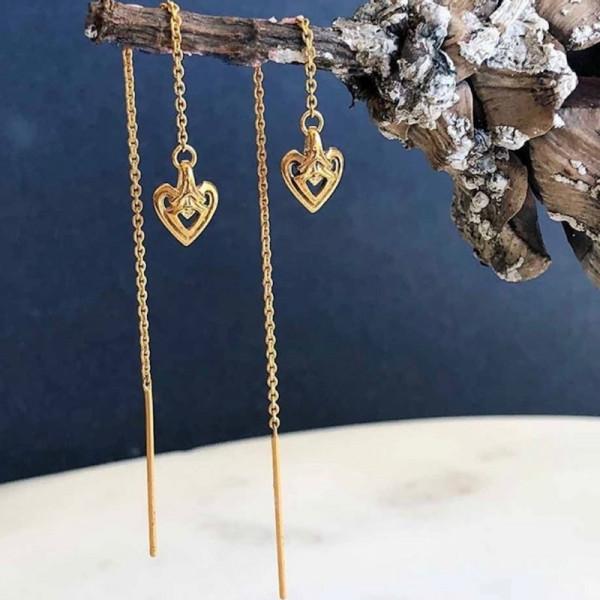 Heart Threader Earring Vergoldet