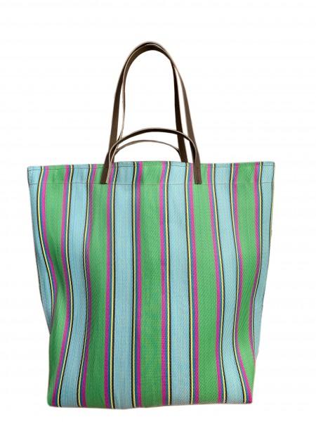 Large Assam Market Bag Green & Magenta