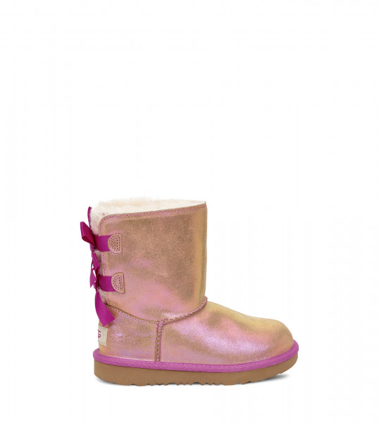 UGG Kids Bailey Bow Shimmer Chestnut Fuchsia